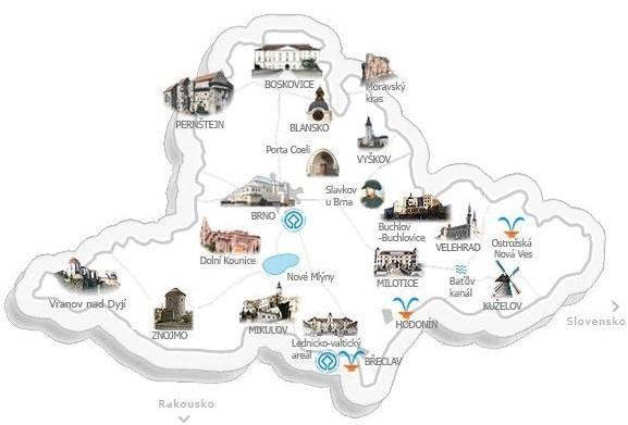 Mapa Hrady Morava Mapa